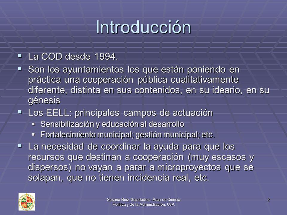 2 Introducción La COD desde 1994. La COD desde 1994. Son los ayuntamientos los que están poniendo en práctica una cooperación pública cualitativamente