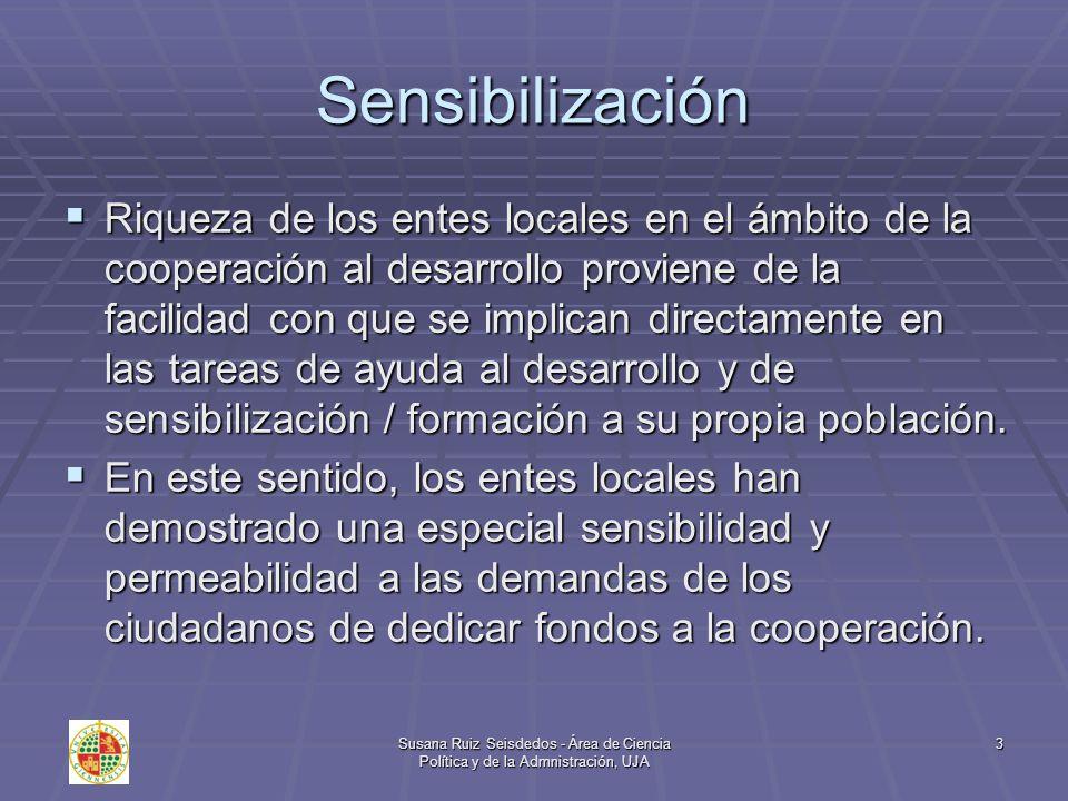 Susana Ruiz Seisdedos - Área de Ciencia Política y de la Admnistración, UJA 14 Conclusiones Los proyectos que se desarrollan en el Sur no puede variar los problemas del subdesarrollo, sólo una mayor sensibilización social puede aumentar las ayudas y cambiar su orientación.