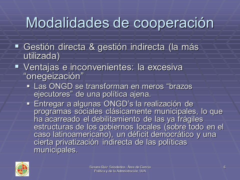 Susana Ruiz Seisdedos - Área de Ciencia Política y de la Admnistración, UJA 7 Cooperación directa: Los hermanamientos Es la relación especial que se da entre dos comunidades locales que comparten algo y se apoyan mutuamente.