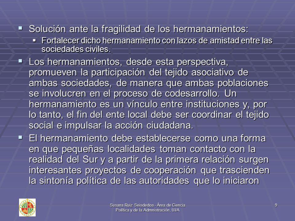 Susana Ruiz Seisdedos - Área de Ciencia Política y de la Admnistración, UJA 10 El valor añadido de los hermanamientos El hermanamiento se configura como una fórmula de apoyo a las estructuras municipales e impulso al desarrollo democrático.