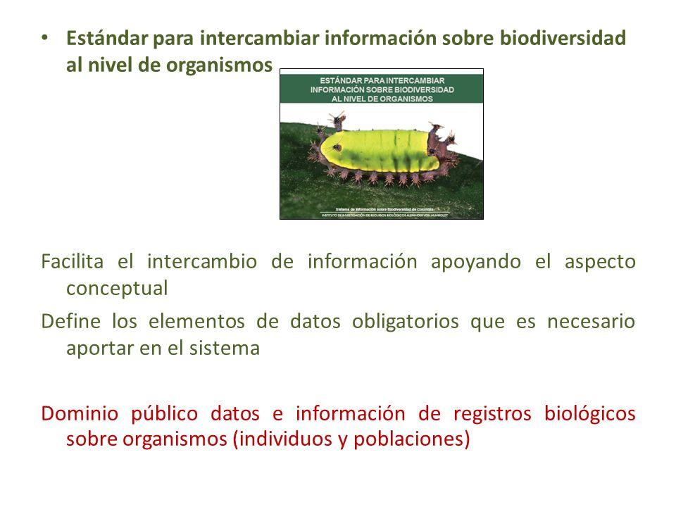 Estándar para intercambiar información sobre biodiversidad al nivel de organismos Facilita el intercambio de información apoyando el aspecto conceptual Define los elementos de datos obligatorios que es necesario aportar en el sistema Dominio público datos e información de registros biológicos sobre organismos (individuos y poblaciones)