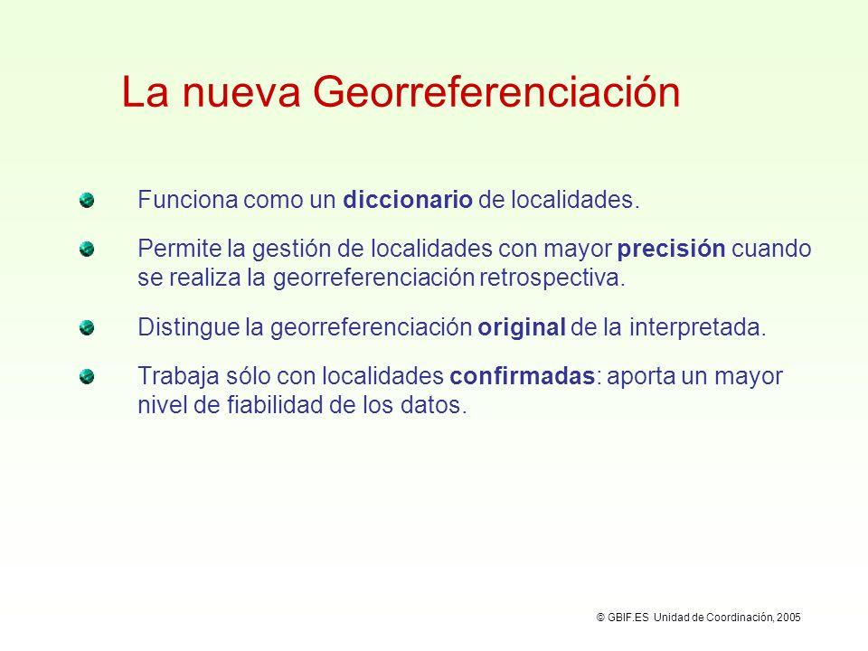 Georreferenciaciones en HERBAR Revisión de georreferenciaciones: varias asignadas, sólo una original y una preferida: © GBIF.ES Unidad de Coordinación, 2005 Localidades asignadas al especimen Localidades confirmadas