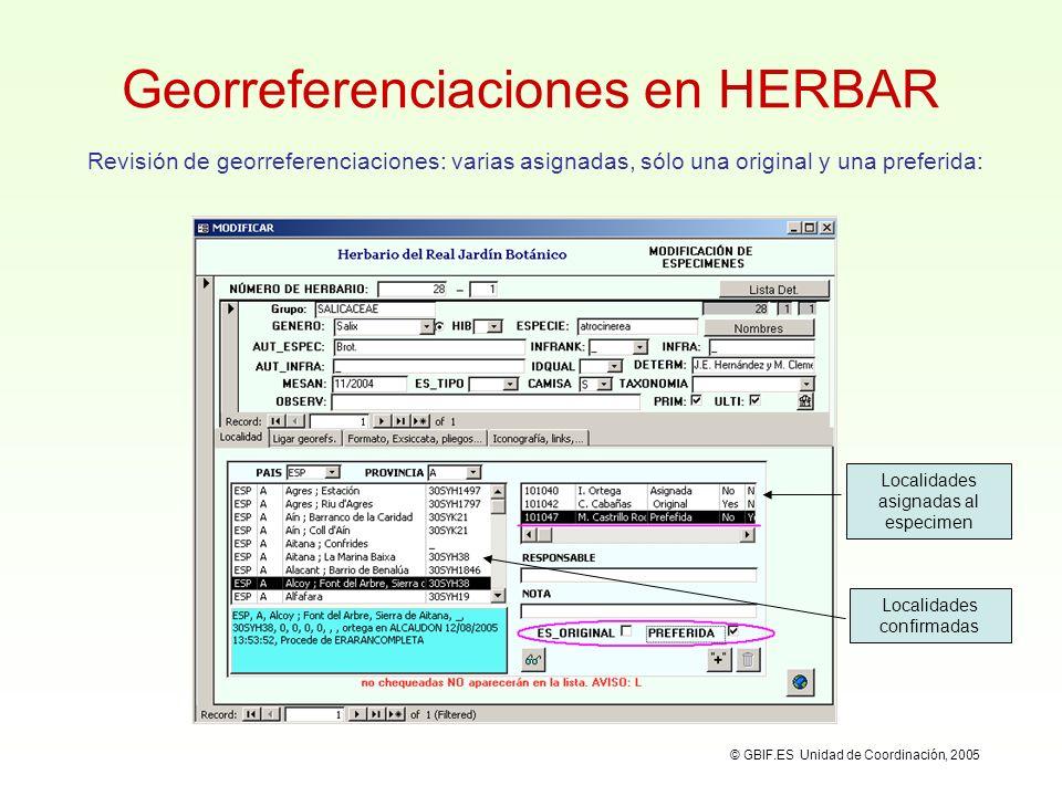 © GBIF.ES Unidad de Coordinación, 2005 GEOREF: Diccionario de Localidades Localidades Gestión de la localidad seleccionada