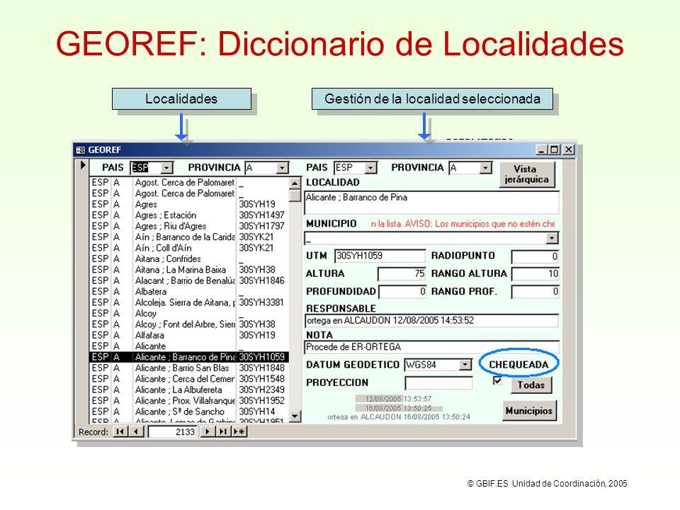 Vista jerárquica de localicades Búsqueda de localidades a través de una vista jerárquica: © GBIF.ES Unidad de Coordinación, 2005