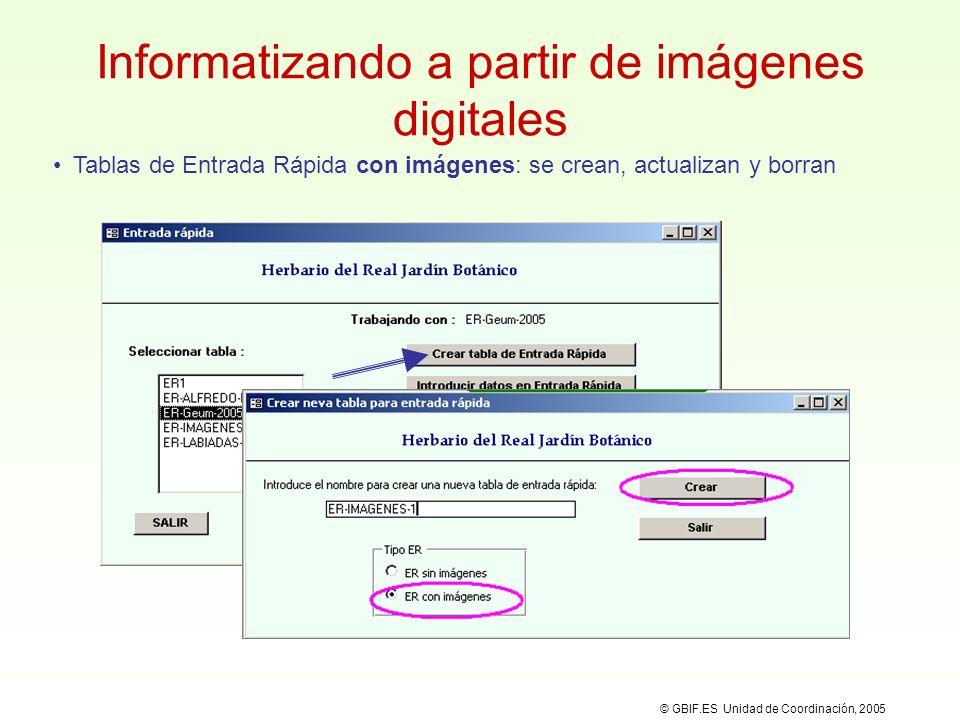 Entrada Rápida y la imagen digital División de la pantalla para tener visibles al mismo tiempo HERBAR y la imagen.