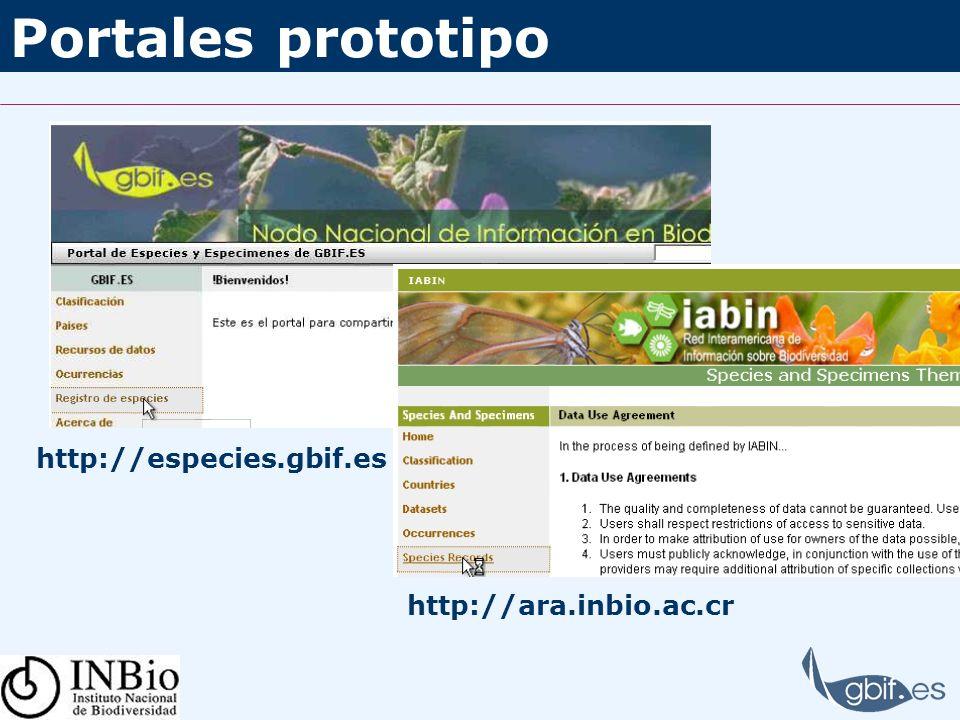 Portales prototipo http://ara.inbio.ac.cr http://especies.gbif.es