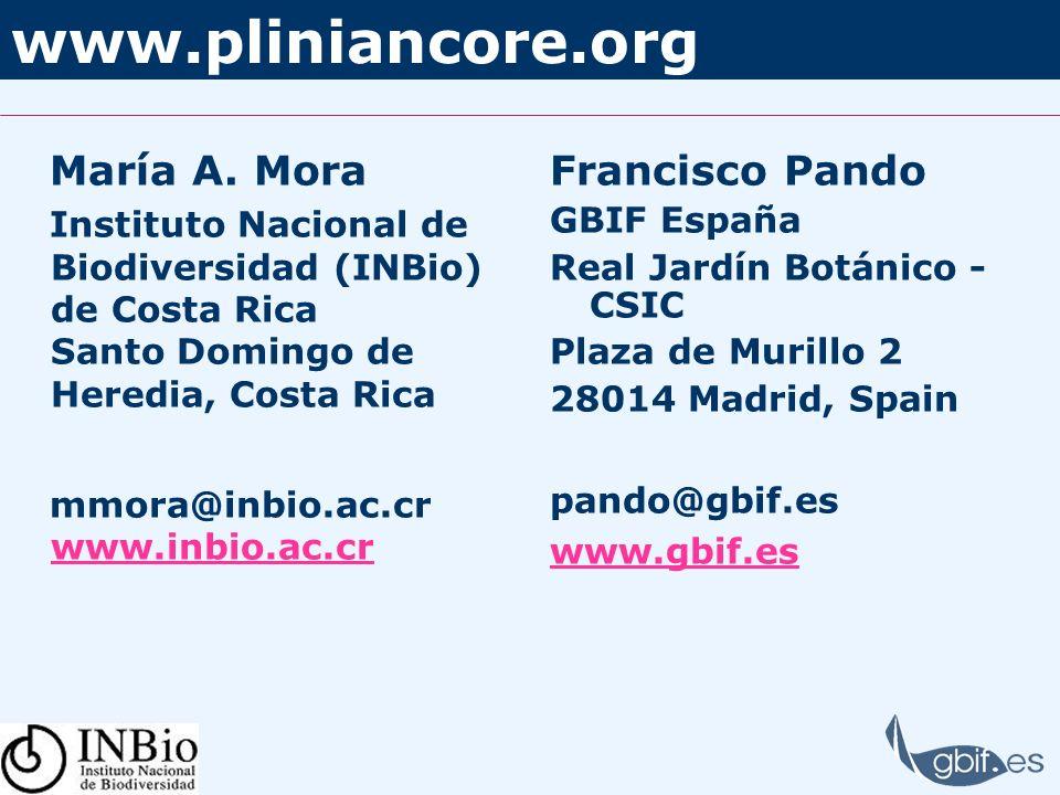 www.pliniancore.org María A. Mora Instituto Nacional de Biodiversidad (INBio) de Costa Rica Santo Domingo de Heredia, Costa Rica mmora@inbio.ac.cr www