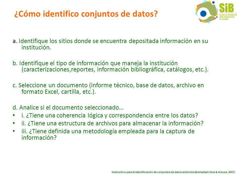 ¿Cómo identifico conjuntos de datos. a.