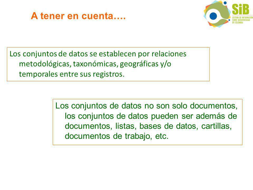 Los conjuntos de datos se establecen por relaciones metodológicas, taxonómicas, geográficas y/o temporales entre sus registros.