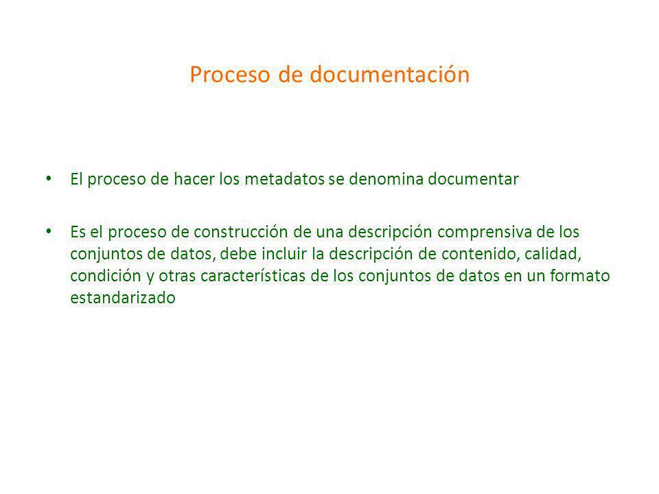 Proceso de documentación El proceso de hacer los metadatos se denomina documentar Es el proceso de construcción de una descripción comprensiva de los conjuntos de datos, debe incluir la descripción de contenido, calidad, condición y otras características de los conjuntos de datos en un formato estandarizado