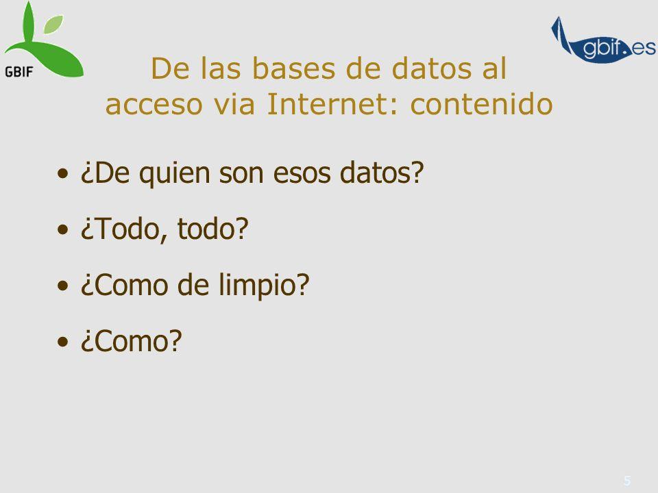 5 De las bases de datos al acceso via Internet: contenido ¿De quien son esos datos.