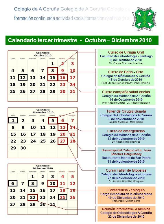 Calendario tercer trimestre - Octubre – Diciembre 2010 Curso de Cirugía Oral Facultad de Odontología - Santiago 8 de Octubre de 2010 Dr. Carlos Martín