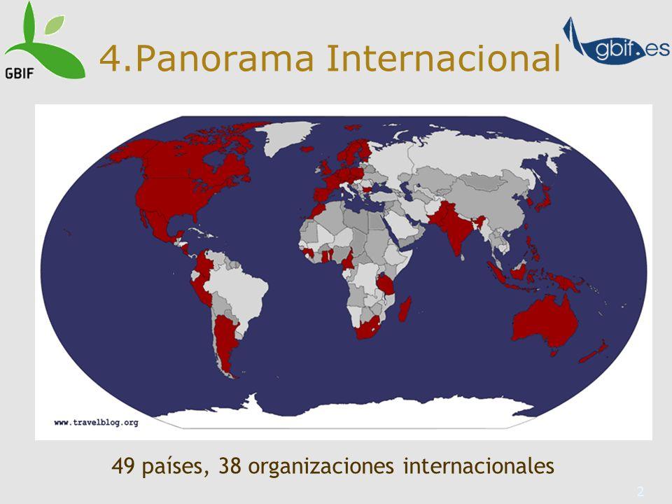 2 4.Panorama Internacional 49 países, 38 organizaciones internacionales