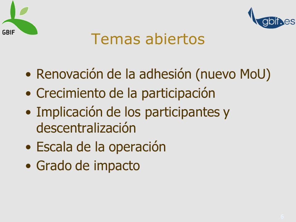 6 Temas abiertos Renovación de la adhesión (nuevo MoU) Crecimiento de la participación Implicación de los participantes y descentralización Escala de la operación Grado de impacto