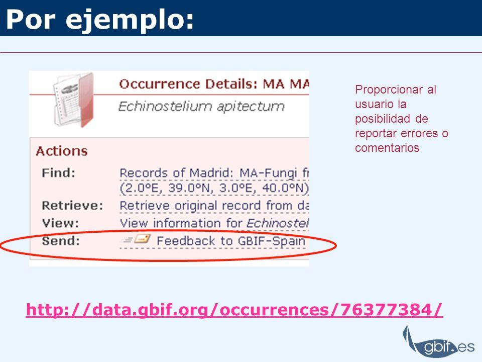 Por ejemplo: http://data.gbif.org/occurrences/76377384/ Proporcionar al usuario la posibilidad de reportar errores o comentarios