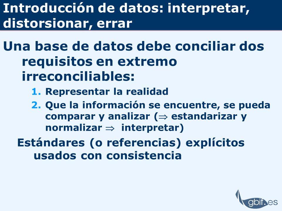 Introducción de datos: interpretar, distorsionar, errar Una base de datos debe conciliar dos requisitos en extremo irreconciliables: 1.Representar la