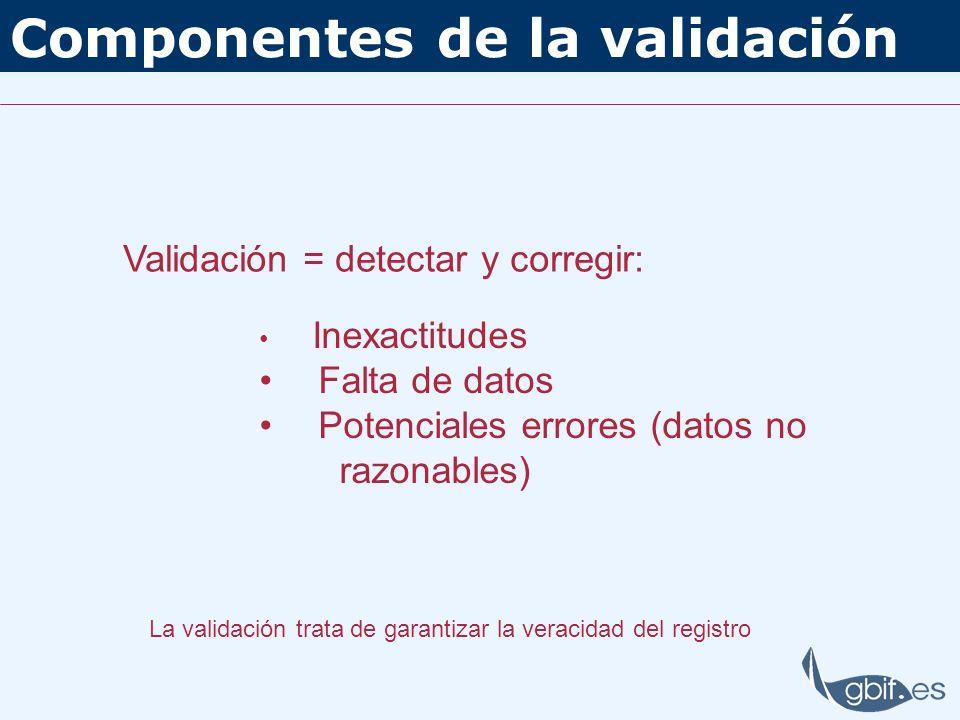 Componentes de la validación Validación = detectar y corregir: Inexactitudes Falta de datos Potenciales errores (datos no razonables) La validación tr