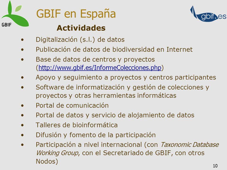 10 Digitalización (s.l.) de datos Publicación de datos de biodiversidad en Internet Base de datos de centros y proyectos ( http://www.gbif.es/InformeC