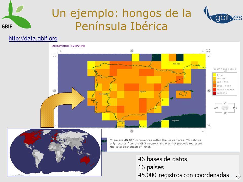 12 Un ejemplo: hongos de la Península Ibérica 46 bases de datos 16 países 45.000 registros con coordenadas http://data.gbif.org 12