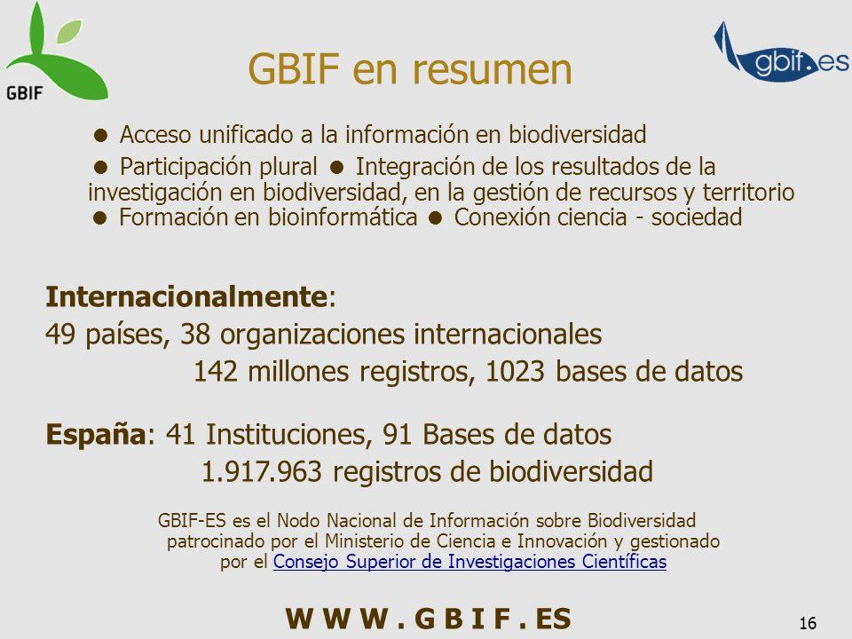 16 Internacionalmente: 49 países, 38 organizaciones internacionales 142 millones registros, 1023 bases de datos España: 41 Instituciones, 91 Bases de