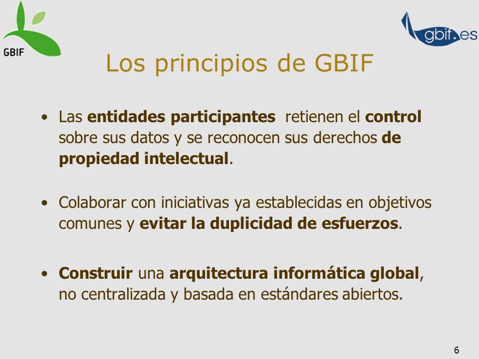 6 Los principios de GBIF Las entidades participantes retienen el control sobre sus datos y se reconocen sus derechos de propiedad intelectual. Colabor