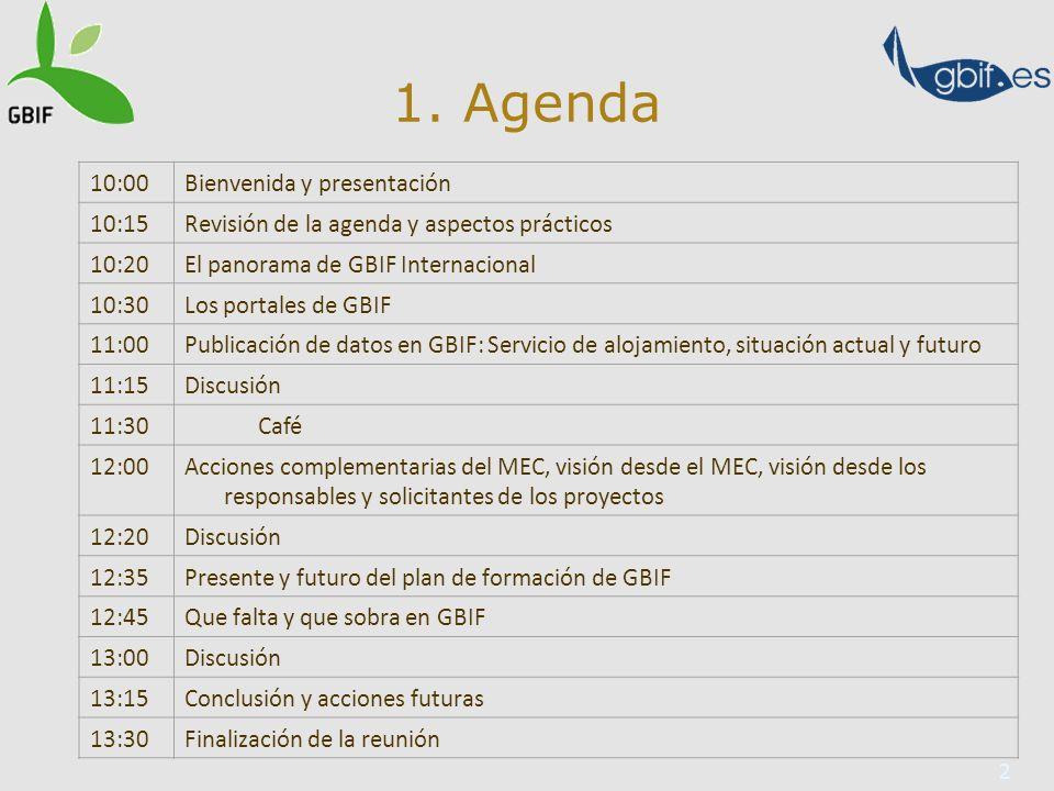 2 1. Agenda 10:00Bienvenida y presentación 10:15Revisión de la agenda y aspectos prácticos 10:20El panorama de GBIF Internacional 10:30Los portales de