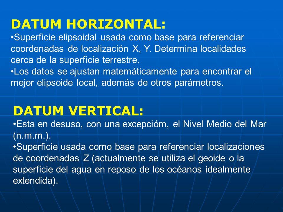 DATUM HORIZONTAL: Superficie elipsoidal usada como base para referenciar coordenadas de localización X, Y. Determina localidades cerca de la superfici