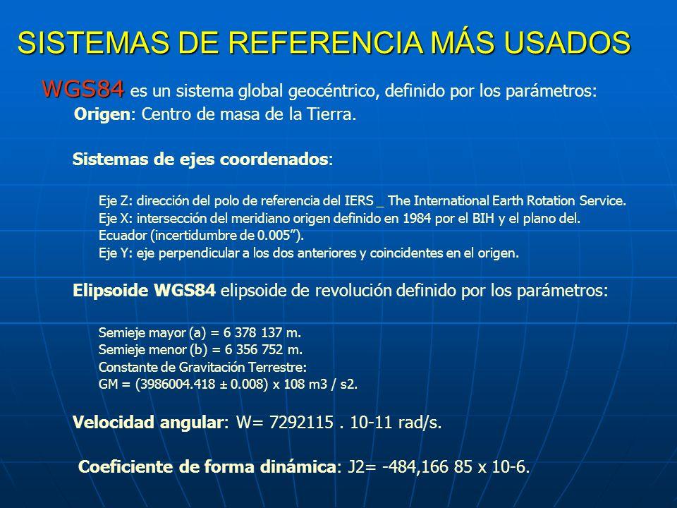 SISTEMAS DE REFERENCIA MÁS USADOS WGS84 WGS84 es un sistema global geocéntrico, definido por los parámetros: Origen: Centro de masa de la Tierra. Sist