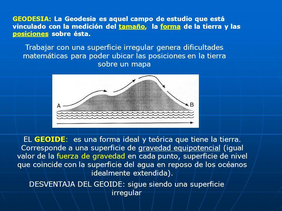 GEODESIA: La Geodesia es aquel campo de estudio que está vinculado con la medición del tamaño, la forma de la tierra y las posiciones sobre ésta. EL G