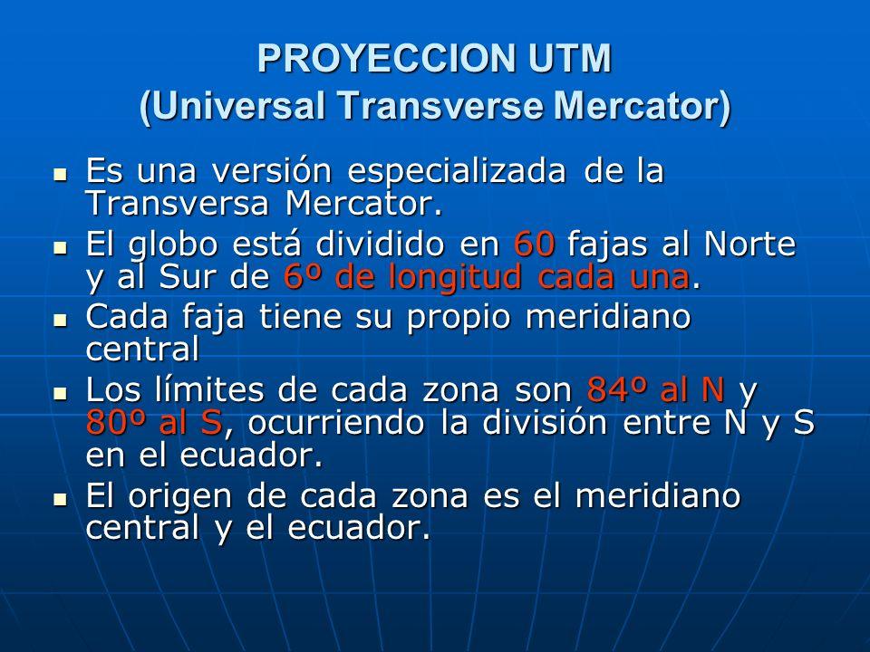 PROYECCION UTM (Universal Transverse Mercator) Es una versión especializada de la Transversa Mercator. Es una versión especializada de la Transversa M