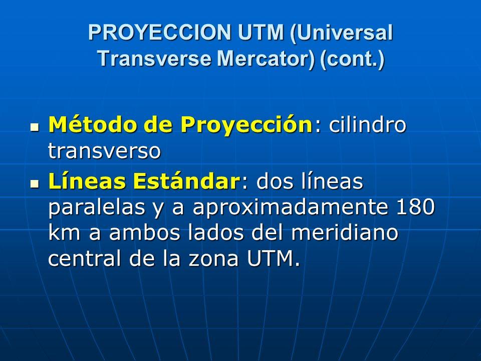 PROYECCION UTM (Universal Transverse Mercator) (cont.) Método de Proyección: cilindro transverso Método de Proyección: cilindro transverso Líneas Está