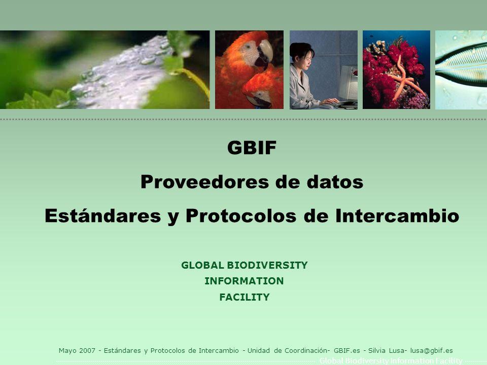 Global Biodiversity Information Facility Mayo 2007 - Estándares y Protocolos de Intercambio - Unidad de Coordinación- GBIF.es - Silvia Lusa- lusa@gbif.es Darwin Core 1.4 l Extension Curacional: l Elementos a nivel de registro: CatalogNumberNumericCatalogNumberNumeric, IdentifiedBy, DateIdentified, CollectorNumber, FieldNumber, FieldNotes, VerbatimCollectingDate, VerbatimElevation, VerbatimDepth, Preparations, TypeStatus, GenBankNumber, OtherCatalogNumbers, RelatedCatalogedItems, Disposition, IndividualCountIdentifiedByDateIdentifiedCollectorNumber FieldNumberFieldNotesVerbatimCollectingDateVerbatimElevation VerbatimDepthPreparationsTypeStatusGenBankNumber OtherCatalogNumbersRelatedCatalogedItemsDisposition IndividualCount l Extensión Geoespacial: l Elementos Geoespaciales: DecimalLatitudeDecimalLatitude, DecimalLongitude, GeodeticDatum, CoordinateUncertaintyInMeters, PointRadiusSpatialFit, VerbatimCoordinates, VerbatimLatitude, VerbatimLongitude, VerbatimCoordinateSystem, GeoreferenceProtocol, GeoreferenceSources, GeoreferenceVerificationStatus, GeoreferenceRemarks, FootprintWKT, FootprintSpatialFitDecimalLongitudeGeodeticDatum CoordinateUncertaintyInMetersPointRadiusSpatialFit VerbatimCoordinatesVerbatimLatitudeVerbatimLongitude VerbatimCoordinateSystemGeoreferenceProtocolGeoreferenceSources GeoreferenceVerificationStatusGeoreferenceRemarksFootprintWKT FootprintSpatialFit l Extensión Paleontológica: l Elementos Paleontológicos: EarliestEonOrLowestEonothem, LatestEonOrHighestEonothem, EarliestEraOrLowestErathem, LatestEraOrHighestErathem, EarliestPeriodOrLowestSystem, LatestPeriodOrHighestSystem, EarliestEpochOrLowestSeries, LatestEpochOrHighestSeries, EarliestAgeOrLowestStage, LatestAgeOrHighestStage, LowestBiostratigraphicZone, HighestBiostratigraphicZone, LithostratigraphicTerms, Group, Formation, Member, Bed