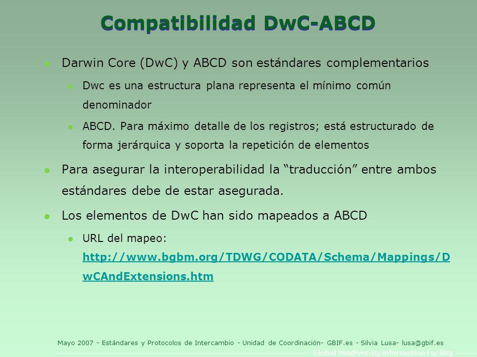 Global Biodiversity Information Facility Mayo 2007 - Estándares y Protocolos de Intercambio - Unidad de Coordinación- GBIF.es - Silvia Lusa- lusa@gbif.es Compatibilidad DwC-ABCD l Darwin Core (DwC) y ABCD son estándares complementarios l Dwc es una estructura plana representa el mínimo común denominador l ABCD.