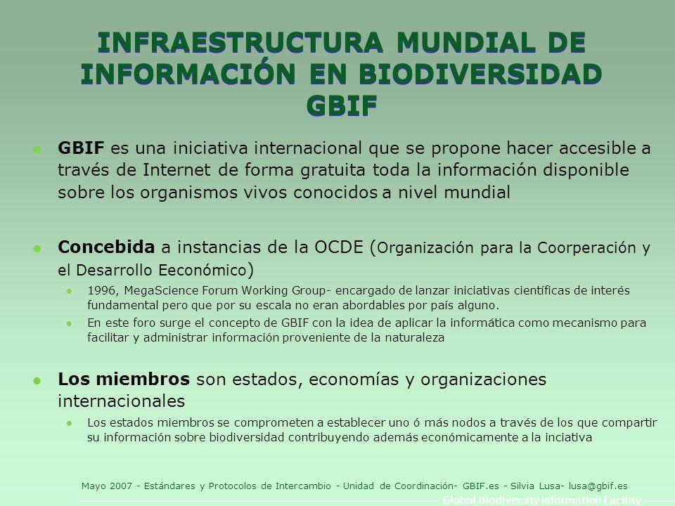 Global Biodiversity Information Facility Mayo 2007 - Estándares y Protocolos de Intercambio - Unidad de Coordinación- GBIF.es - Silvia Lusa- lusa@gbif.es Darwin Core 1.2 l XML Schema: http://digir.net/schema/conceptual/darwin/2003/1.0/darwin2.xsd http://digir.net/schema/conceptual/darwin/2003/1.0/darwin2.xsd l Contiene 48 elementos no jerarquizados de los cuales 5 campos son obligatorios l Proveedores que utilizan esta versión a nivel mundial (fuente: http://bigdig.ecoforge.net/wiki/SchemaStatus) http://bigdig.ecoforge.net/wiki/SchemaStatus http://digir.sourceforge.net/schema/conceptual/darwin/2003/ 1.0/darwin2.xsdhttp://digir.sourceforge.net/schema/conceptual/darwin/2003/ 1.0/darwin2.xsd + http://digir.net/schema/conceptual/darwin/2003/1.0/darwin2.