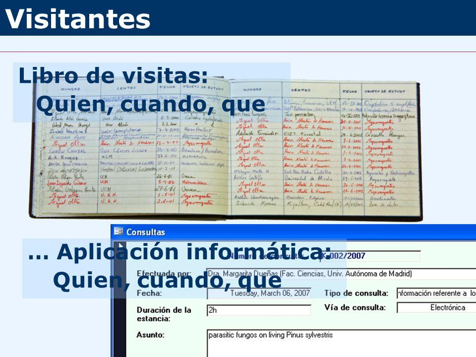 Visitantes Libro de visitas: Quien, cuando, que … Aplicación informática: Quien, cuando, que