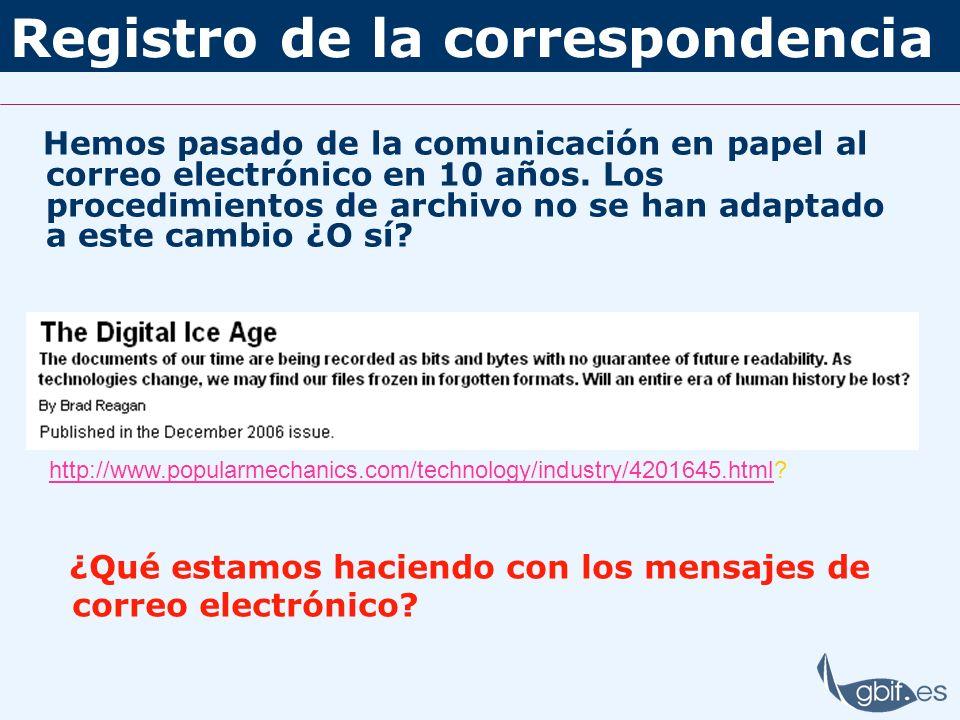 Registro de la correspondencia Hemos pasado de la comunicación en papel al correo electrónico en 10 años. Los procedimientos de archivo no se han adap