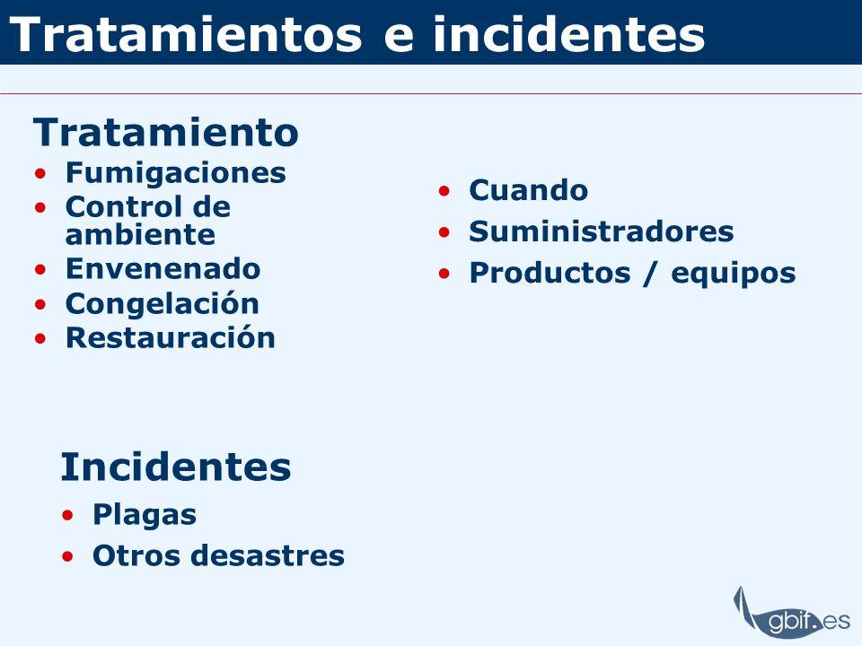 Tratamientos e incidentes Tratamiento Fumigaciones Control de ambiente Envenenado Congelación Restauración Cuando Suministradores Productos / equipos