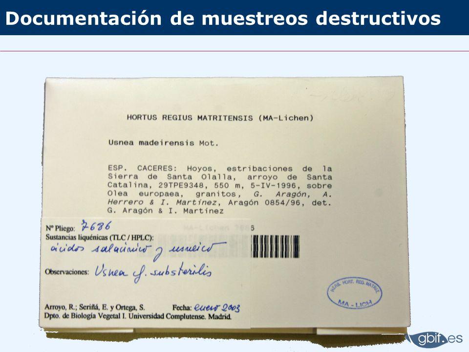 Documentación de muestreos destructivos