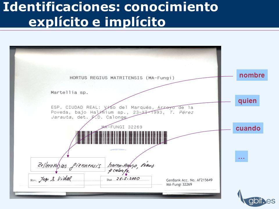 Identificaciones: conocimiento explícito e implícito nombre quien cuando …