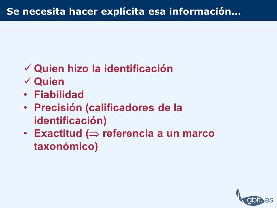 Se necesita hacer explícita esa información… Quien hizo la identificación Quien Fiabilidad Precisión (calificadores de la identificación) Exactitud (