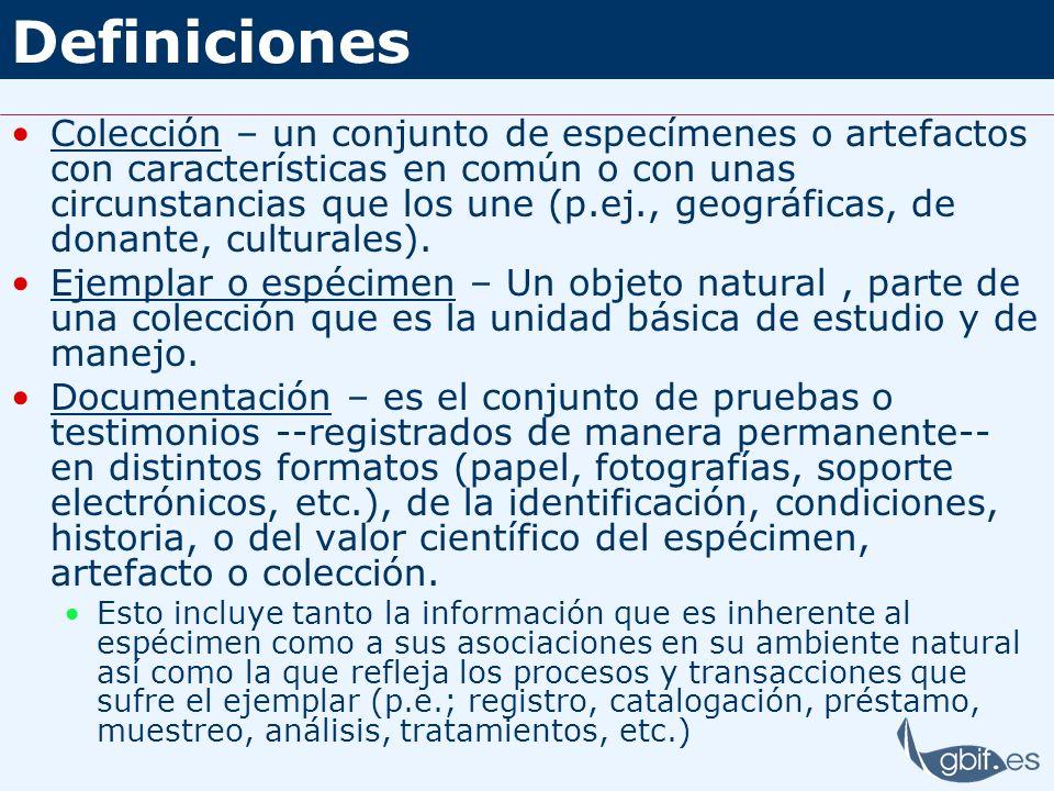 Definiciones Colección – un conjunto de especímenes o artefactos con características en común o con unas circunstancias que los une (p.ej., geográfica