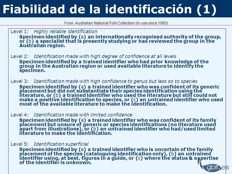 Fiabilidad de la identificación (1) Level 1:Highly reliable identification Specimen identified by (a) an internationally recognised authority of the g