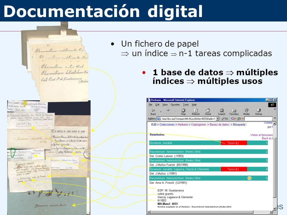 1 base de datos múltiples índices múltiples usos Un fichero de papel un índice n-1 tareas complicadas Documentación digital