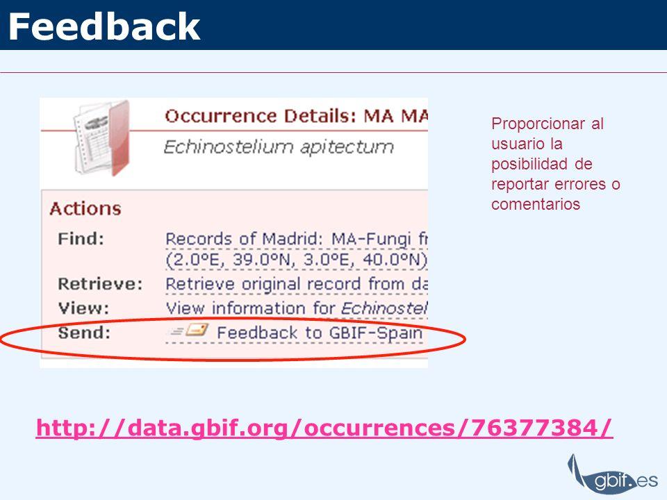 Feedback http://data.gbif.org/occurrences/76377384/ Proporcionar al usuario la posibilidad de reportar errores o comentarios