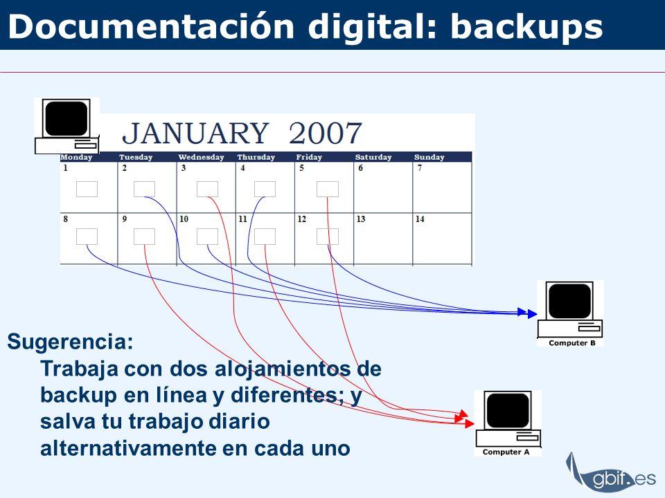 Documentación digital: backups Sugerencia: Trabaja con dos alojamientos de backup en línea y diferentes; y salva tu trabajo diario alternativamente en