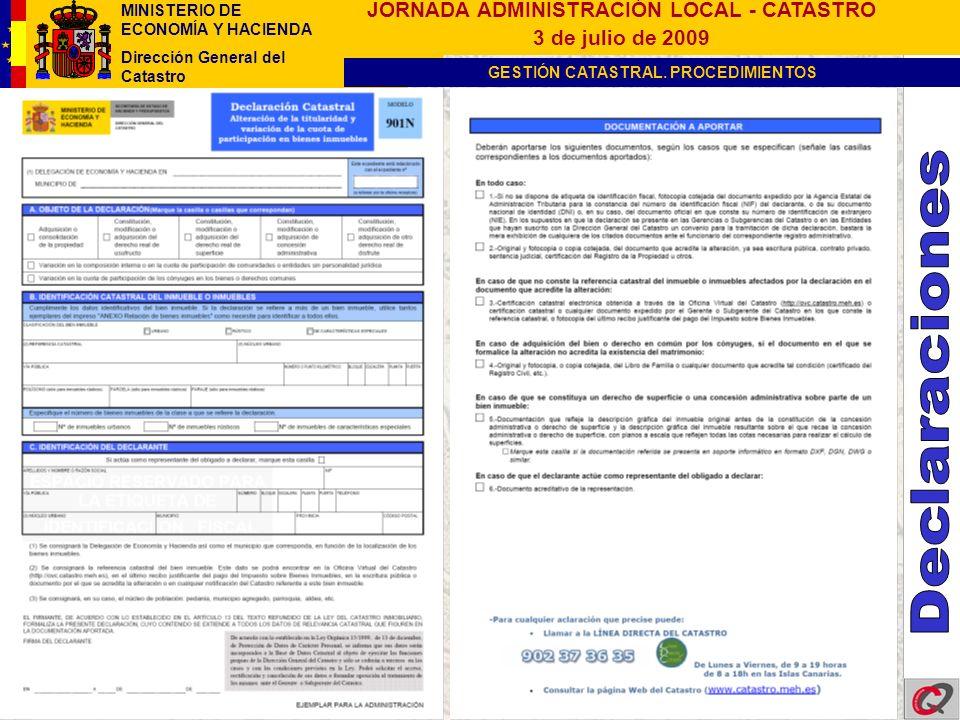 MINISTERIO DE ECONOMÍA Y HACIENDA Dirección General del Catastro GESTIÓN CATASTRAL.