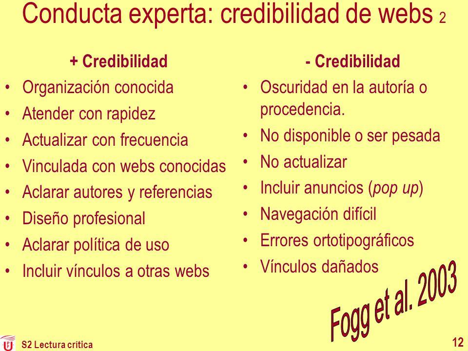 S2 Lectura crítica 12 Conducta experta: credibilidad de webs 2 + Credibilidad Organización conocida Atender con rapidez Actualizar con frecuencia Vinc