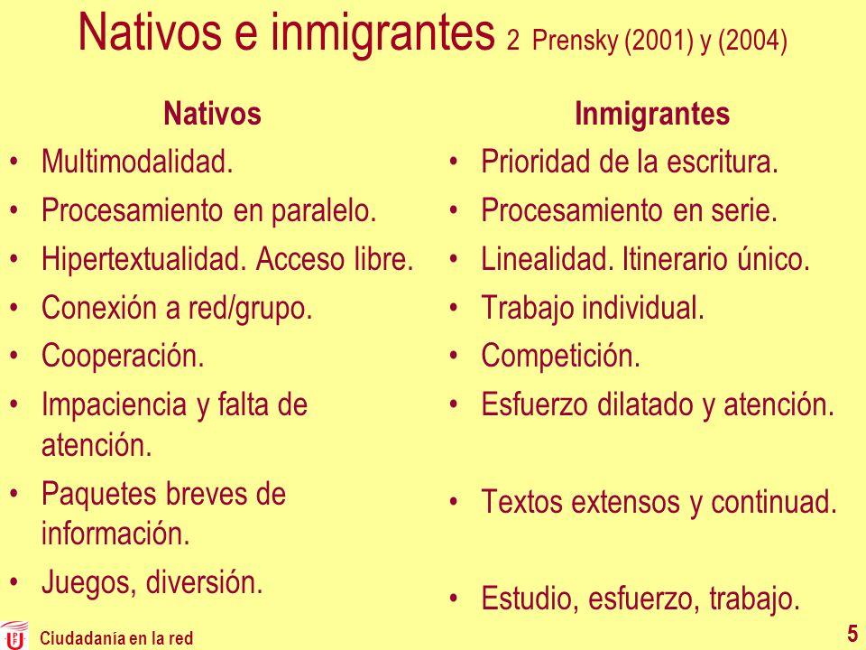 Ciudadanía en la red 55 Nativos e inmigrantes 2 Prensky (2001) y (2004) Nativos Multimodalidad. Procesamiento en paralelo. Hipertextualidad. Acceso li