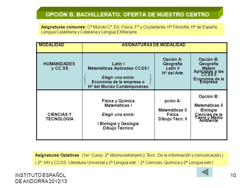 INSTITUTO ESPAÑOL DE ANDORRA 2012/13 10 OPCIÓN B. BACHILLERATO. OFERTA DE NUESTRO CENTRO MODALIDAD ASIGNATURAS DE MODALIDADº 2º HUMANIDADES y CC.SS La