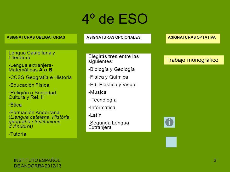 INSTITUTO ESPAÑOL DE ANDORRA 2012/13 2 ASIGNATURAS OBLIGATORIAS 4º de ESO ASIGNATURAS OPCIONALESASIGNATURAS OPTATIVA Lengua Castellana y Literatura -L